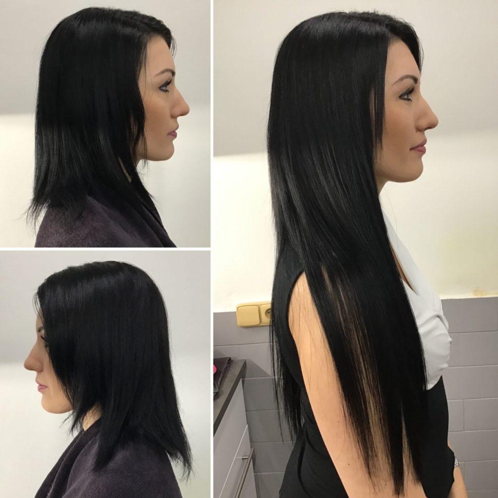 bruneta prodloužené vlasy