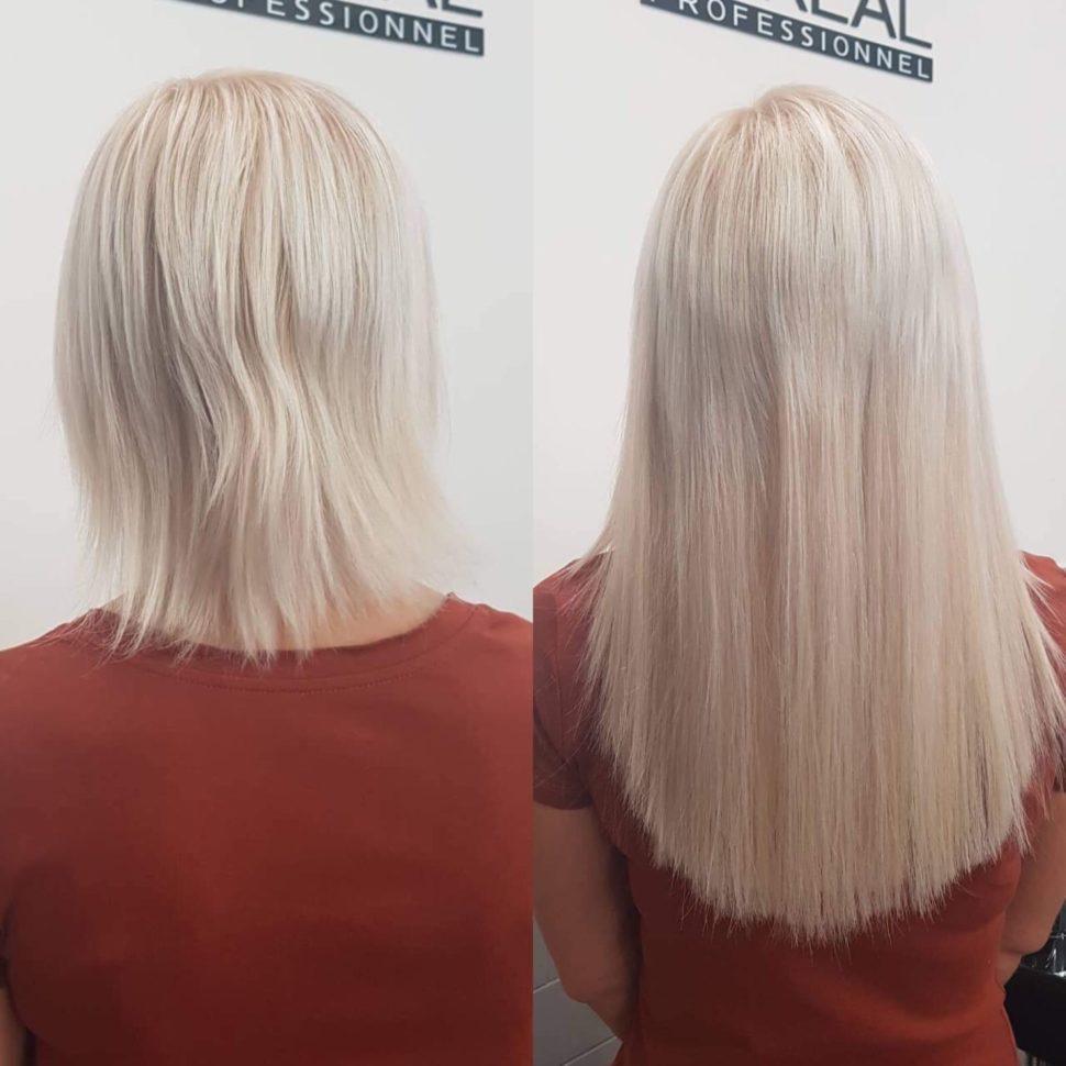 blond prodloužené vlasy