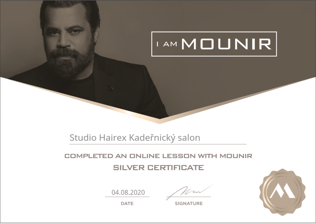 Certifikát Mounir Studio Hairex