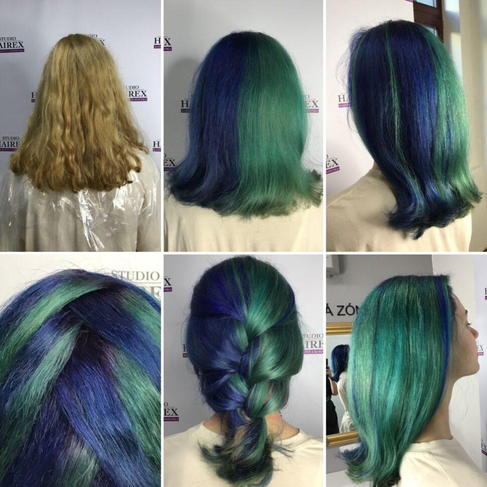 modrozelené vlasy